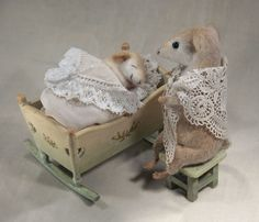Mother Mouse with Baby - stuffed animals by Natasha Fadeeva (ooak mice toys)