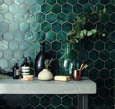 #Green #Hexagonal #tiles for a #featurewall idea