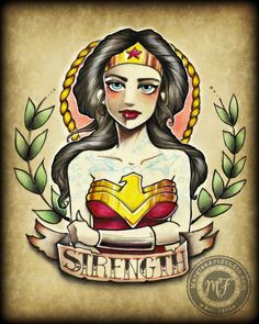 #Wonder #woman #tattoo #Tattooflash #neo #traditional more on www.MargiesArtStudio.com your purchases make it possible for me to donate prints, art, my book, to survivors of human #trafficking, #domestic violence, child #abuse.