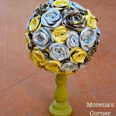Learn how to turn a candlestick and handmade paper flowers into a beautiful topiary!  Would also make a lovely centerpiece!