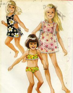 Summer Savings Vintage Simplicity 8272 Toddler Girls Bathing Suit and Tie Side Coverup Sewing Pattern Size 6 Vintage Bathing Suits, Girls Bathing Suits, Vintage Dresses, Vintage Outfits, Vintage Fashion, Girls Suit, Vintage Kids Clothes, Vintage Girls, Vintage Children