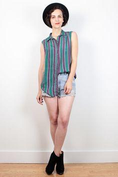 be044b29946 Vintage 90s Shirt Green Purple Silk Blouse Sleeveless Striped Collared  Shirt Color Block Soft Grunge Shirt 1990s Boyfriend Shirt M Medium L