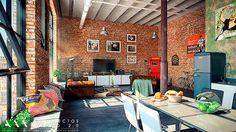e la vivienda para diferenciar este espacio y generar un zócalo bajo la zona de los ventanales que sirva como mueble auxiliar de obra en el ...