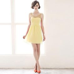 Women's Blue/Yellow Dress , Vintage/Sexy/Casual/Party/Work Sleeveless – USD $ 26.99