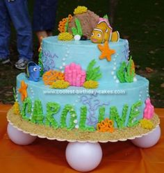 Homemade Finding Nemo Birthday Cake: I made this Finding Nemo Birthday Cake for my niece's second birthday.  I used a 12 double layer and an 8 double layer homemade white cake with cooked