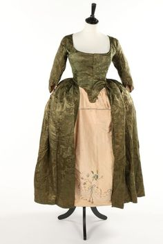 A sage-green damask satin open robe, late with front closure… 18th Century Clothing, 18th Century Fashion, Historical Costume, Historical Clothing, Historical Dress, Female Clothing, 18th Century Costume, Rococo Fashion, Period Outfit