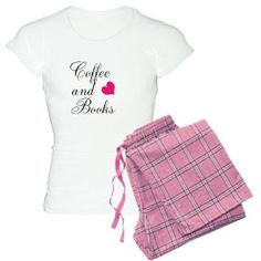 Coffee and Books Pink Heart Womens Light Pajamas - Current Popular Seller #thelostbookreports
