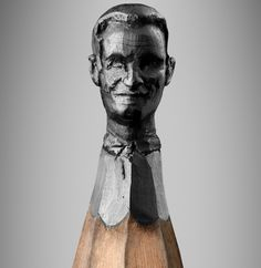 Pencil heads via behance.net  No joke, people- this artist carves (by hand) into the tips of pencils. Mind-boggling.