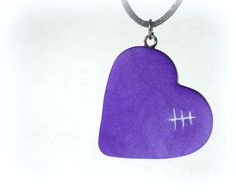 Mended Heart Necklace, Purple Handmade Polymer Clay Jewelry Pendant by neiceysclaythings on Etsy
