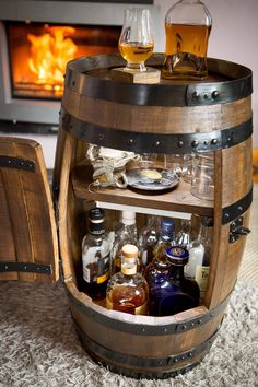 Compact barrel drinks cabinet by FaitMaiz on Etsy https://www.etsy.com/uk/listing/518953248/compact-barrel-drinks-cabinet
