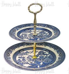 """CHURCHILL, BLUE WILLOW WARE 8""""; & 10""""; TWO-TIER CAKE STAND"""