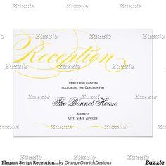 Elegant Script Reception Card - Yellow
