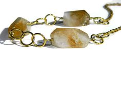 Real citrine crystal necklace, semiprecious stone jewelry