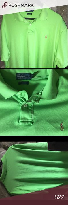 Mens Polo bright green golf shirt XXL Pima Cotton Bright, bold and ready for the links or the country club, this 100% Pima soft touch cotton Ralph Lauren Polo golf shirt is in mint condition.  Super soft and practical, simply wash in cold water after your round of golf.  This one is for the bigger guys, size XXL.  Lying flat, the chest at its widest point is 26 inches, the length, measured from the bottom of the collar to the bottom of the back him is 32 inches. Smoke-free and fabulous! Polo…