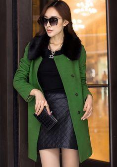 Green Plain Belt Single Breasted Fur Collar Wool Coat