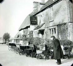 Ha ha prams parked outside pub