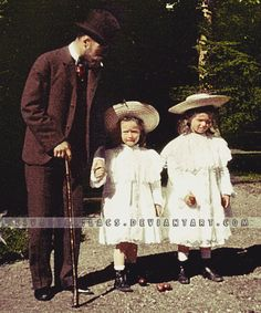 Nicholas with his eldest daughters by Livadialilacs | Emperor Nicholas II of Russia with his eldest daughters, Olga and Tatiana. Taken in Denmark.