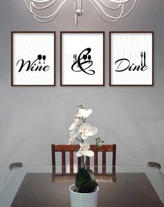 Dining Room Wall Art - Dining Room Art - Kitchen Prints - Kitchen Signs - Dining Room Prints - Wine & Dine - Modern Black and White Dining Dining Room Decor wine wall art decorating dining room Dinning Room Wall Decor, Dining Room Wall Art, Kitchen Wall Art, Wall Art Decor, Kitchen Signs, Room Decor, Dining Rooms, Kitchen Ideas, Room Kitchen