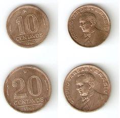 Moedas brasileiras de níquel de 10 e 20 centavos de cruzeiro 1942