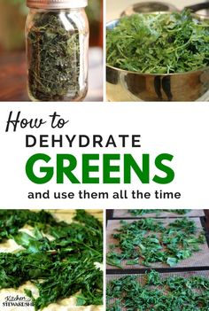 How to Dehydrate Greens & Make Homemade Green Powder Need to preserve spring greens like kale, spinach or Swiss chard? Dehydrating is the easiest process imaginable PLUS how to make DIY green powder for smoothies! Kale Powder, Green Powder, Dehydrated Vegetables, Dehydrated Food, Canning Recipes, Jar Recipes, Freezer Recipes, Freezer Cooking, Drink Recipes