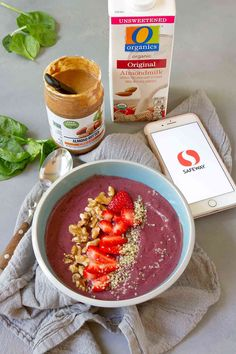 AD: Start your morning off with a berry-filled plant-based smoothie bowl, topped with fresh fruit and nuts! High in protein and fiber, and packed with flavor. All of the plant-based #OpenNature Superfood Recipes, Smoothie Recipes, Heart Healthy Recipes, Low Carb Recipes, Safeway Recipe, Smoothies With Almond Milk, How To Make Smoothies, Quick And Easy Breakfast, Recipe For Mom