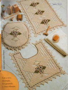 Pretty crochet bathroom set Crochê Tricô - Gráficos: Jogo de Banheiro em Barbante