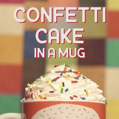 Explore a new way to make Confetti Cake, in a mug!