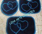 Jogo De Banheiro dois corações azul