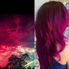 Wild Orchid, Magenta and Violet Vivid hair colors on long layer cut by Jennifer Warner at Mode Hair Salon in Las Vegas Vivid Hair Color, Gorgeous Hair Color, Hair Color Purple, New Hair Colors, Cool Hair Color, Wild Hair Colors, Violet Hair, Hair Lengths, Her Hair