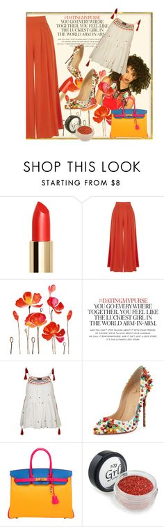 """""""Untitled #992"""" by talatay ❤ liked on Polyvore featuring Warehouse, Kate Spade, Topshop, Christian Louboutin and Hermès"""
