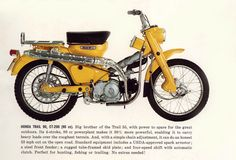 1965 Honda Trail 90 ad I used to borrow one of these to ride haha Trail Motorcycle, Womens Motorcycle Helmets, Motorcycle Posters, Retro Motorcycle, Motorcycle Travel, Motorcycle Girls, Classic Honda Motorcycles, Honda Bikes, Vintage Motorcycles