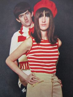 Cathy McGowan, modelling with brother John, for Honey magazine, May 1965. Sixties Fashion, Mod Fashion, Cathy Mcgowan, Swinging London, Twiggy, Op Art, Mods Style, Brother, Honey