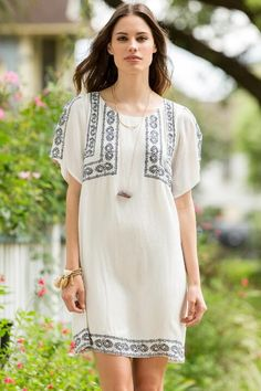 Brie Embroidered Shift Dress- Ivory