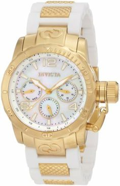 Invicta Women's 1700 Corduba Mother-Of-Pearl Dial White Polyurethane and Stainless Steel Watch Invicta. $254.69. Water-resistant to 100 m (330 feet). Mineral crystal; brushed 18k gold ion-plated stainless steel case; white polyurethane strap with textured 18k gold ion-plated stainless steel center links. Mother-of-pearl dial with gold tone hands, hour markers and arabic numerals; luminous; unidirectional 18k gold ion-plated stainless steel bezel; secured screw-do...