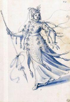 Giuseppe Arcimboldo - Costume drawing of a woman bearing a lance
