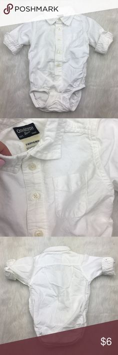 Osh Kosh B'gosh white button down onesie Preloved. Still lots of life left. 6 months. Great in jeans or khakis! Osh Kosh One Pieces Bodysuits