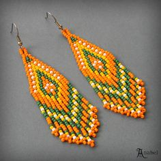 Beaded Earrings seed bead earrings beaded jewelry por Anabel27shop