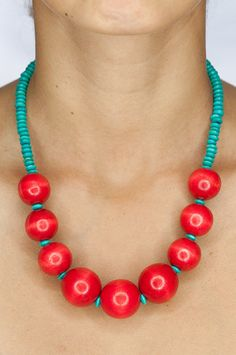 Chunky Wood Necklace / Red and Turquoise Blue Round by DevikaBox, $22.00