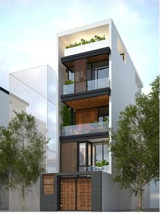 Exterior apartment building dream homes 34 Ideas - Modern 3 Storey House Design, House Front Design, Small House Design, Modern House Design, Narrow House Designs, Narrow House Plans, Modern House Plans, Design Exterior, Exterior Colors