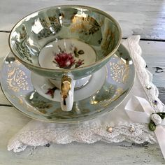Vintage 1950s Royal Sealy Tea Cup, Rose Tea Cup, High Tea, Footed Teacup and Saucer, Japanese Teacup Set ~ Fancy wide mouthed footed cup ~ Stunning lustreware glaze with a generous gold design. ~ Cup measures 2.5 tall, Saucer is 5.5 diameter. ~ Well preserved, free of cracks,