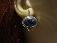 Lapis Earring,Vintage Sterling Silver and Lapis Earring, Blue Earring, Lapis Lazuli Earring