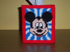 Mickey Mouse Tissue Box Cover by woodenwonderknits on Etsy https://www.etsy.com/listing/107337786/mickey-mouse-tissue-box-cover