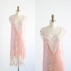 Gatsby Dress Flapper 1920s Art Deco Pink Sequined Beaded on Etsy, $495.00