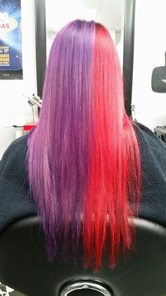 My hair is now split in two awesome colors! Using Ellumen products (purple and red) from Goldwell at Mèch'en look hair salon in Rimouski, Canada