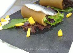 La cajita de Nieves y Elena: Ensalada de canelones de nectarina y sardinas marinadas versionando a Yayo Daporta