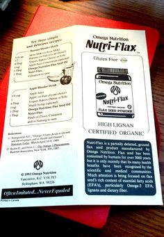 Throw back Thursday!  Nutri-Flax vintage flyer, circa 1993.  Still rich in Lignans; important part of high-fiber foods that come from plants.  Learn more, click here and share!  http://www.omeganutrition.com/ProductDetails.aspx?item_no=EPNUF008&CatId=69da88cf-11e9-41bd-90b3-e7daea746fd8.  Call us today 1-800-661-3529 and ask for the latest 2 for 1 offer on this amazing product!