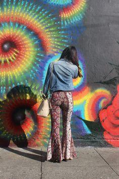 Denim Jacket and comfy 70's style pants. #streetwear #Macys #AmericanRag #Ibiss #SF