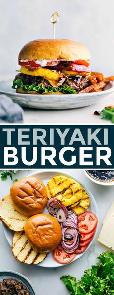 No summer is complete without this delicious teriyaki burger recipe! This teriyaki burger recipe includes a sweet pineapple teriyaki sauce, grilled pineapple, plenty of veggies, swiss cheese, and lightly toasted brioche buns. Recipe via chelseasmessyapron Burger Recipes, Beef Recipes, Cooking Recipes, Healthy Recipes, Recipies, Teriyaki Burgers, Teriyaki Sauce, Well Done Burger, Cilantro Lime Sauce