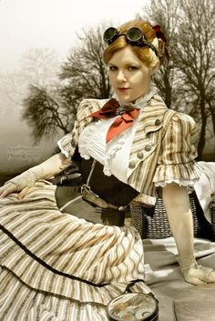 I love so much about this one! Patterned fabric, cute jacket and just the right kind of ruffles - Crystaline : Steampunk Fashion Archives