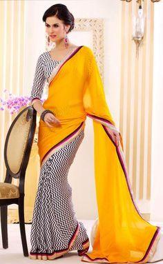 Yellow and White Chiffon Party Wear Saree 30621